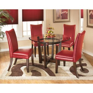 Charrell Red Faux Leather 5 Piece Dining Set