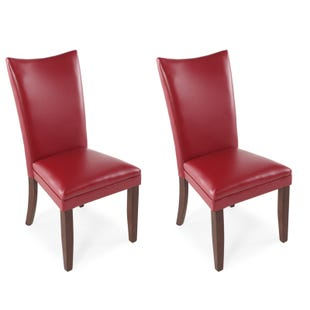 Charrell Red Faux Leather Set of 2 Dining Chairs