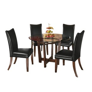 Charrell Black Faux Leather 5 Piece Dining Set