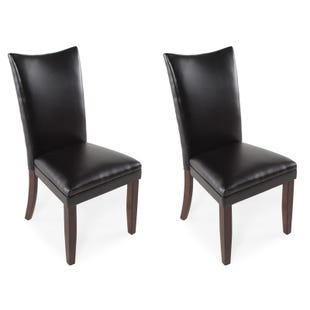 Charrell Black Faux Leather Set of 2 Dining Chairs