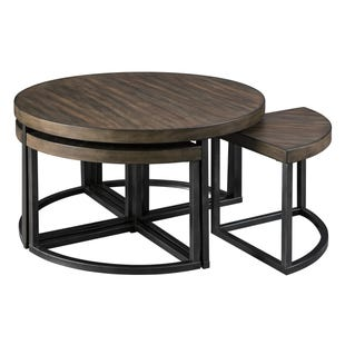 Johurst Brown Coffee Table w/Stools