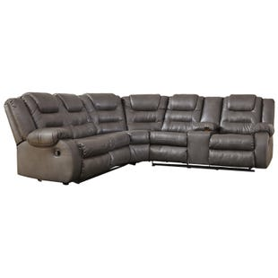 Ashley Walgast Gray Faux Leather Reclining Sectional