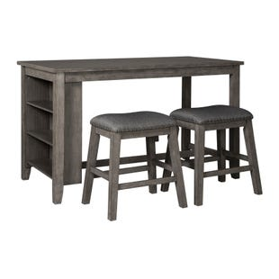 Caitbrook Gray Rectangular Counter Height 3 Piece Dining Set
