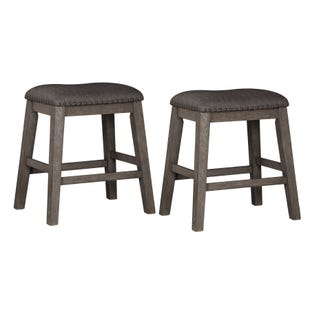 Caitbrook Antiqued Gray Set of 2 Upholstered Stools