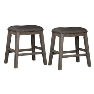 Ashley Caitbrook Antiqued Gray Set of 2 Upholstered Stools