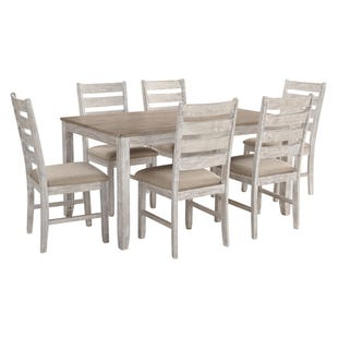 Rusty Grayish White 7 Piece Dining Table Set