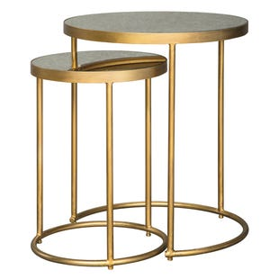 Mirror Glass Gold Set of 2 Nesting Tables