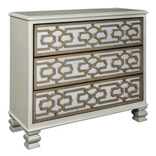 Goldtone Lattice Accent Cabinet