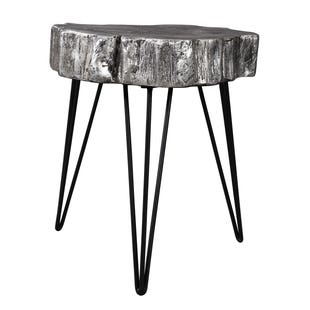 Silvertone Wood Slice Accent Table