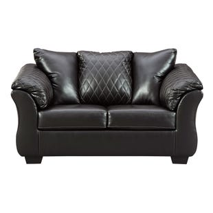 Ashley Riley Black Faux Leather Loveseat