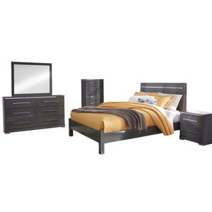 Ashley Steelson Gray High Gloss Queen Bedroom Set