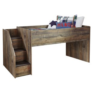 Ashley Trinet Rustic Plank Loft Bed w/Storage Step