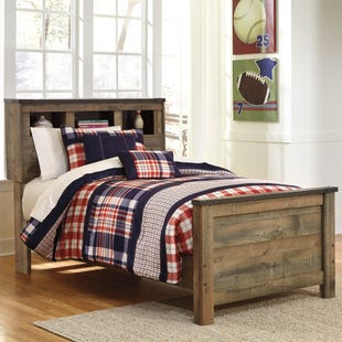 Ashley Trinet Rustic Plank Bookcase Headboard Bed/Slat