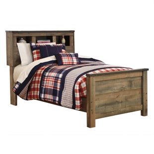 Ashley Trinet Twin Rustic Plank Bookcase Headboard Bed/Slat