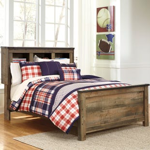 Ashley Trinet Rustic Plank Full Bookcase Bed/Slat Roll