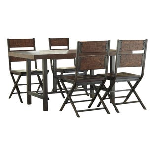 Anderson 5 Piece Dining Set Medium Brown Metal