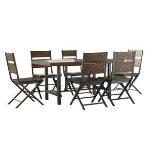 Anderson 7 Piece Dining Set Medium Brown Metal