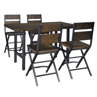Anderson Medium Brown Industrial 5 Piece Counter Height Set