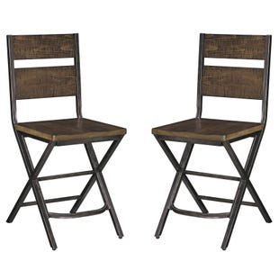 Ashley Anderson Medium Brown Reclaimed Set of Two Stools