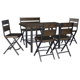 Anderson Medium Brown Industrial 6 Piece Counter Height Set