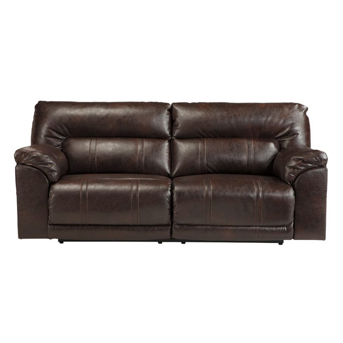 Ashley Barrettsville Brown Bonded Leather Reclining Sofa | Weekends ...