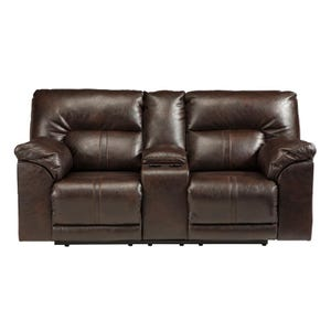 Ashley Barrettsville Brown Bonded Leather Reclining Loveseat