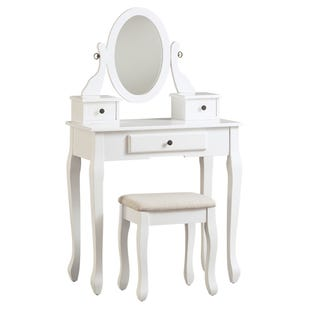 Kaslyn White Vanity with Mirror and Stool