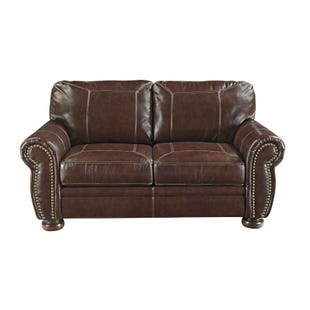 Ashley Banner Leather Loveseat with Nailhead