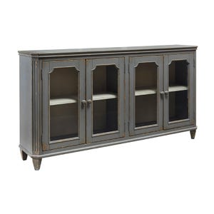 "Ashley Bristol Glass Door 67"" Distressed Gray Console"