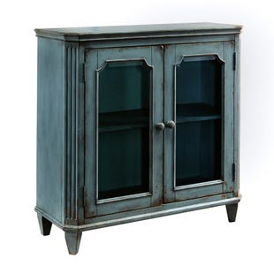 "Ashley Oxford Glass Door 36"" Distressed Teal Accent Chest"