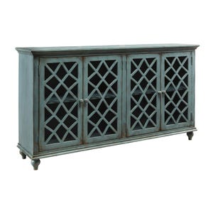 """Ashley London Glass Door 67"""" Distressed Teal Accent Console"""