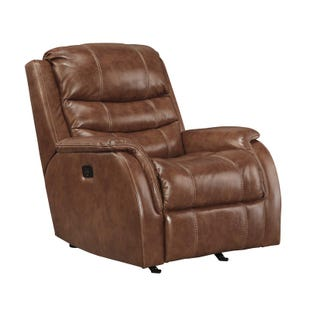 Ashley Metcalf Nutmeg Power Leather Rocker Recliner
