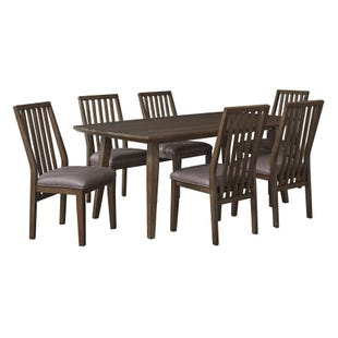 Kisper Brushed Dry Brown 7 Piece Dining Set