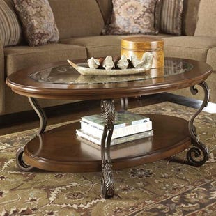 Nestor Iron and Glass Oval Coffee Table
