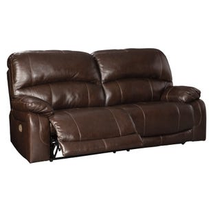 Leather Power Reclining Sofa with Adjustable Headrest