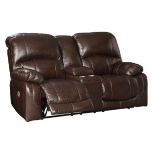Leather Power Reclining Loveseat with Console and Adjustable