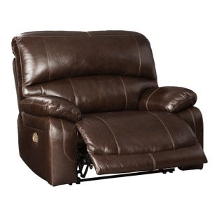 Leather Power Wide Recliner with Adjustable Headrest