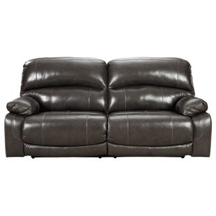 Hallstrung Gray Leather Dual Power Reclining Sofa