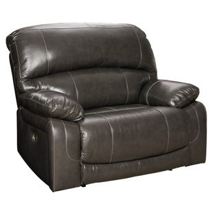 Hallstrung Gray Leather Dual Power Recliner