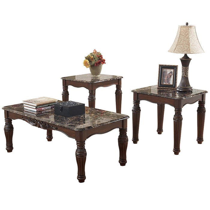 North Shore Brown With Faux Marble 3 Piece Table Set Weekends Only Furniture