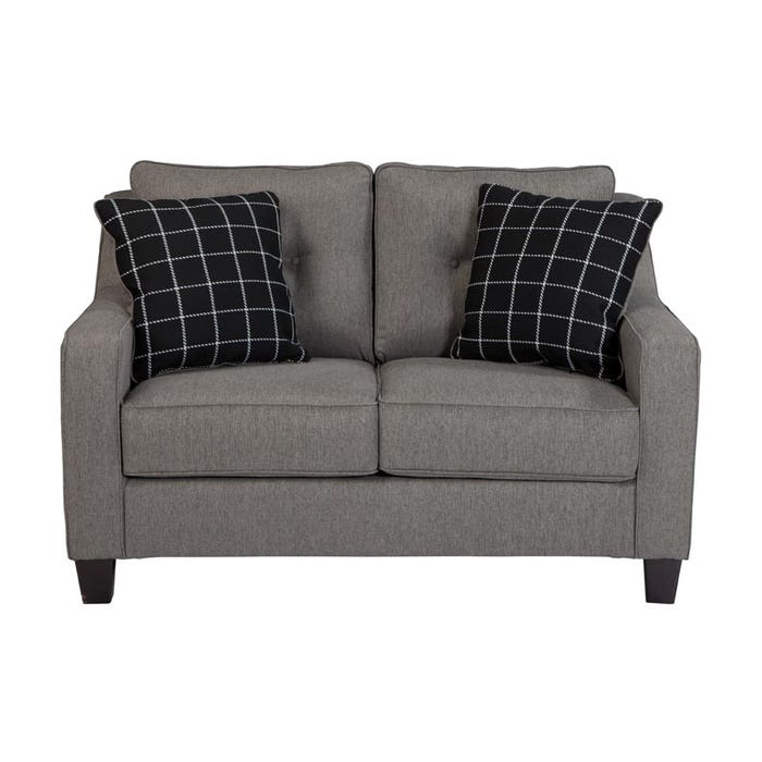 Ashley Brindon Charcoal Gray Contemporary Loveseat | Weekends Only ...