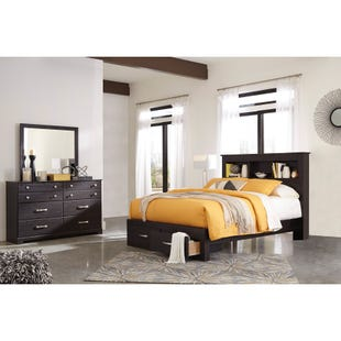 Reylow Distressed Brown Queen Storage 3 Piece Bedroom Set