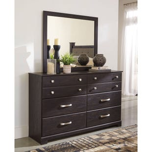 Reylow Brown Worn Paint Dresser and Mirror