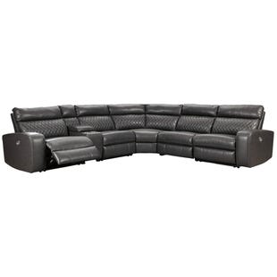 Ashley Samperstone Gray Faux Leather Power Sectional