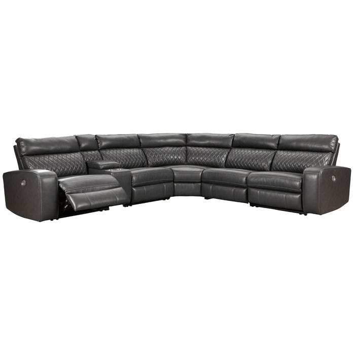 Groovy Ashley Samperstone Gray Faux Leather Power Sectional Unemploymentrelief Wooden Chair Designs For Living Room Unemploymentrelieforg