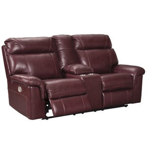 Ashley Duvic Top Grain Leather Power Loveseat and Headrest