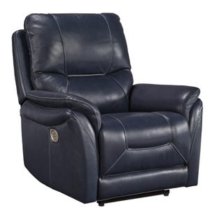 Leather Triple Power Stolpen Recliner Navy Blue