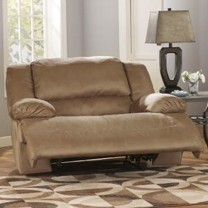 Ashley Hogan Beige Microfiber Wide-Seat Recliner
