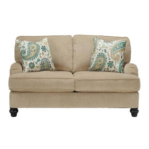 Ashley Lochian Beige Chenille Pocketed Coil Loveseat