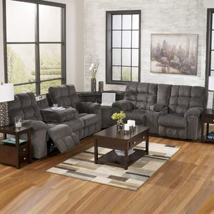 Acieona Gray Reclining Sectional with Pull-up Wedge
